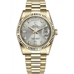 Rolex Day-Date 36 Yellow Gold Diamond Silver Dial President Watch 118238