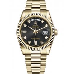 Rolex Day-Date 36 Yellow Gold Diamond Black Dial President Watch 118238