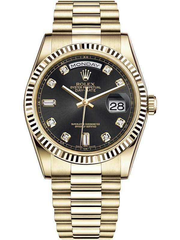 Rolex Day Date 36 Yellow Gold Diamond Black Dial President Watch 118238