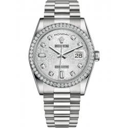 118346-0050 Rolex Day-Date 36 Platinum Diamond Bezel Silver Jubilee Dial President Watch