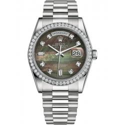 118346-0026 Rolex Day-Date 36 Platinum Diamond Bezel Black MOP Dial President Watch
