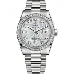118346-0038 Rolex Day-Date 36 Platinum Diamond Bezel White MOP Dial President Watch
