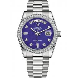 118346-0086 Rolex Day-Date 36 Platinum Diamond Bezel Lapis Lazuli Dial President Watch