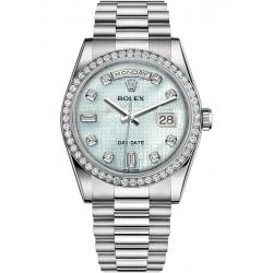 118346-0088 Rolex Day-Date 36 Platinum Diamond Bezel Oxford MOP Dial President Watch
