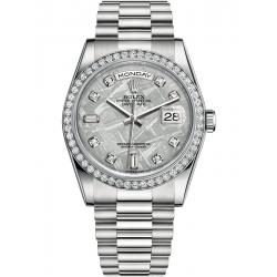 118346-0093 Rolex Day-Date 36 Platinum Diamond Bezel Meteorite Dial President Watch