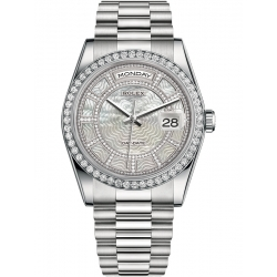 118346-0087 Rolex Day-Date 36 Platinum Diamond Bezel Carousel of White Mother-of-Pearl Dial President Watch