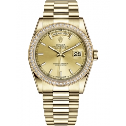 118348-0035 Rolex Day-Date 36 Yellow Gold Diamond Bezel Index Champagne Dial President Watch