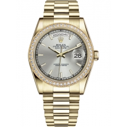 118348-0036 Rolex Day-Date 36 Yellow Gold Diamond Bezel Index Silver Dial President Watch