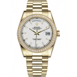 118348-0070 Rolex Day-Date 36 Yellow Gold Diamond Bezel Index White Dial President Watch