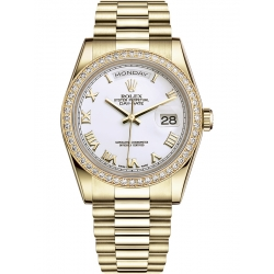 118348-0093 Rolex Day-Date 36 Yellow Gold Diamond Bezel Roman Numerals White Dial President Watch