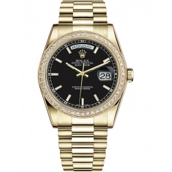 118348-0123 Rolex Day-Date 36 Yellow Gold Diamond Bezel Index Black Dial President Watch