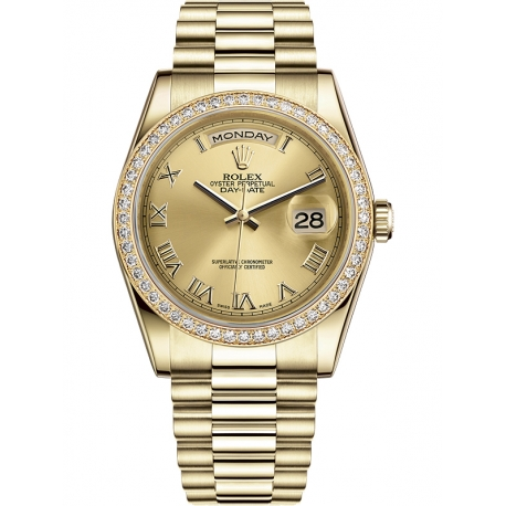 118348-0147 Rolex Day-Date 36 Yellow Gold Diamond Bezel Roman Numerals Champagne Dial President Watch