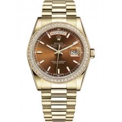 118348-0160 Rolex Day-Date 36 Yellow Gold Diamond Bezel Index Cognac Dial President Watch