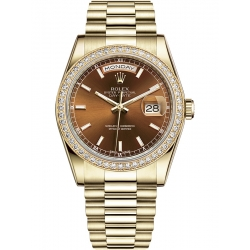 Rolex Day-Date 36 Yellow Gold Diamond Bezel Index Cognac Dial President Watch 118348