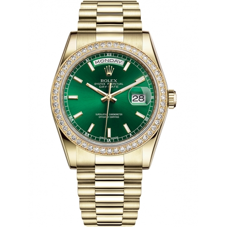 118348-0161 Rolex Day-Date 36 Yellow Gold Diamond Bezel Index Green Dial President Watch