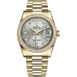118348-0008 Rolex Day-Date 36 Yellow Gold Diamond Bezel Silver Dial President Watch
