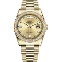 118348-0018 Rolex Day-Date 36 Yellow Gold Diamond Bezel Champagne Dial President Watch