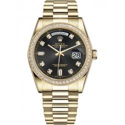 118348-0024 Rolex Day-Date 36 Yellow Gold Diamond Bezel Black Dial President Watch