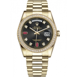 118348-0148 Rolex Day-Date 36 Yellow Gold Diamond Bezel Ruby Black Dial President Watch