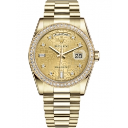118348-0019 Rolex Day-Date 36 Yellow Gold Diamond Bezel Champagne Jubilee Dial President Watch