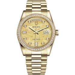 118348-0037 Rolex Day-Date 36 Yellow Gold Diamond Bezel Champagne MOP Jubilee Dial President Watch