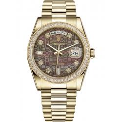 118348-0026 Rolex Day-Date 36 Yellow Gold Diamond Bezel Black MOP Jubilee Dial President Watch