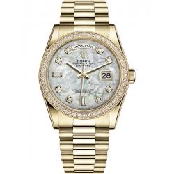 118348-0027 Rolex Day-Date 36 Yellow Gold Diamond Bezel White MOP Dial President Watch