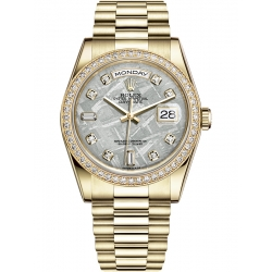 118348-0022 Rolex Day-Date 36 Yellow Gold Diamond Meteorite Dial President Watch