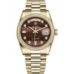 118348-0156 Rolex Day-Date 36 Yellow Gold Diamond Bulls Eye Dial President Watch