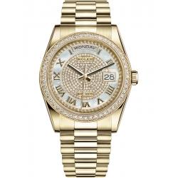 118348-0040 Rolex Day-Date 36 Yellow Gold Diamond Bezel Paved MOP Dial President Watch
