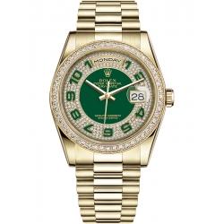 118348-0054 Rolex Day-Date 36 Yellow Gold Diamond Bezel Arabic Numerals Green Dial President Watch