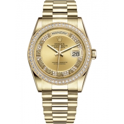 118348-0071 Rolex Day-Date 36 Yellow Gold Diamond Bezel Roman Numerals Champagne Dial President Watch