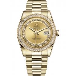 Rolex Day-Date 36 Yellow Gold Diamond Bezel Roman Champagne Dial President Watch 118348