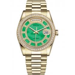 118348-0180 Rolex Day-Date 36 Yellow Gold Diamond Bezel Green Jade Carousel Dial President Watch
