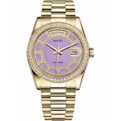118348-0191 Rolex Day-Date 36 Yellow Gold Diamond Bezel Lavender Jade Carousel Dial President Watch