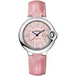 WSBB0002 Ballon Bleu de Cartier 33 mm Automatic Pink Leather Watch