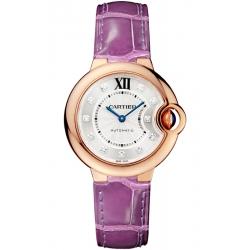 WE902063 Ballon Bleu de Cartier 33 mm Purple Leather 18K Pink Gold Diamond Watch