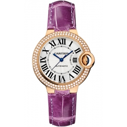 Ballon Bleu de Cartier 33 mm Purple Leather Diamond Watch WE902066