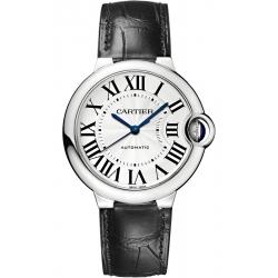 W6920097 Ballon Bleu de Cartier 36 mm Black Leather Steel Watch