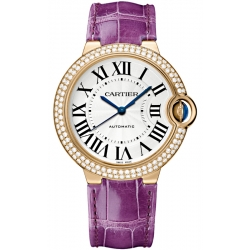 Ballon Bleu de Cartier 36 mm Purple Leather Diamond Watch WJBB0009