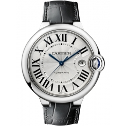 Ballon Bleu de Cartier 42 mm Black Leather Steel Watch W69016Z4