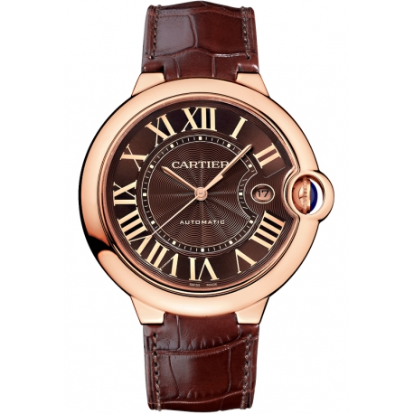 W6920037 Cartier Ballon Bleu 42mm Brown Leather Pink Gold Watch