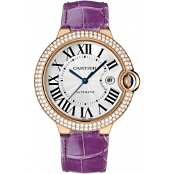 WJBB0031 Cartier Ballon Bleu 42 mm Purple Leather Diamond Watch