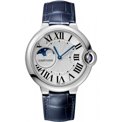 WSBB0020 Cartier Ballon Bleu Moonphase 37mm Blue Leather Watch