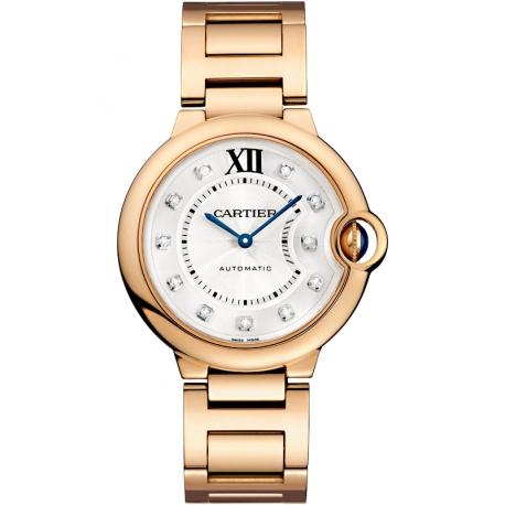 WE902026 Cartier Ballon Bleu 36 mm 18K Pink Gold Diamond Watch