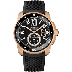 Calibre de Cartier Diver 18K Pink Gold Rubber Watch W7100052