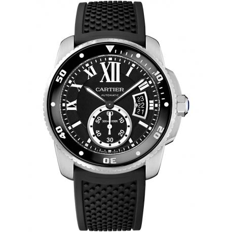W7100056 Calibre de Cartier Diver Steel Rubber Strap Mens Watch