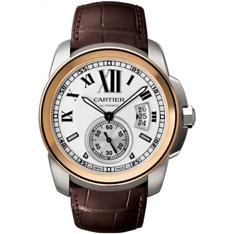 W7100039 Calibre de Cartier 18K Pink Gold Steel Leather Watch