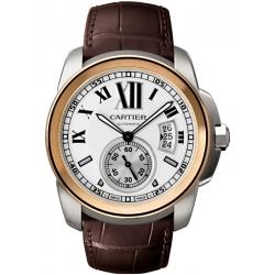 Calibre de Cartier Pink Gold Steel Leather Watch W7100039
