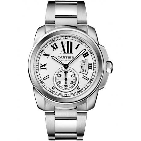 W7100015 Calibre de Cartier Silver Dial Steel Bracelet Watch